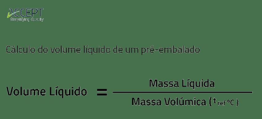 Cálculo do volume líquido de um pré-embalado
